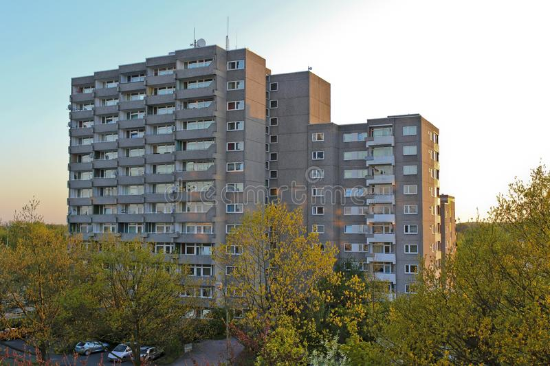 Block of flats,large building in Leherheide, Bremerhaven, Germany. Block of flats, residential building, large building in Leherheide, Bremerhaven, Germany royalty free stock photography