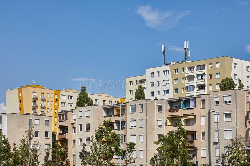 Block of Flats. Residential building blocks with many flats stock photos