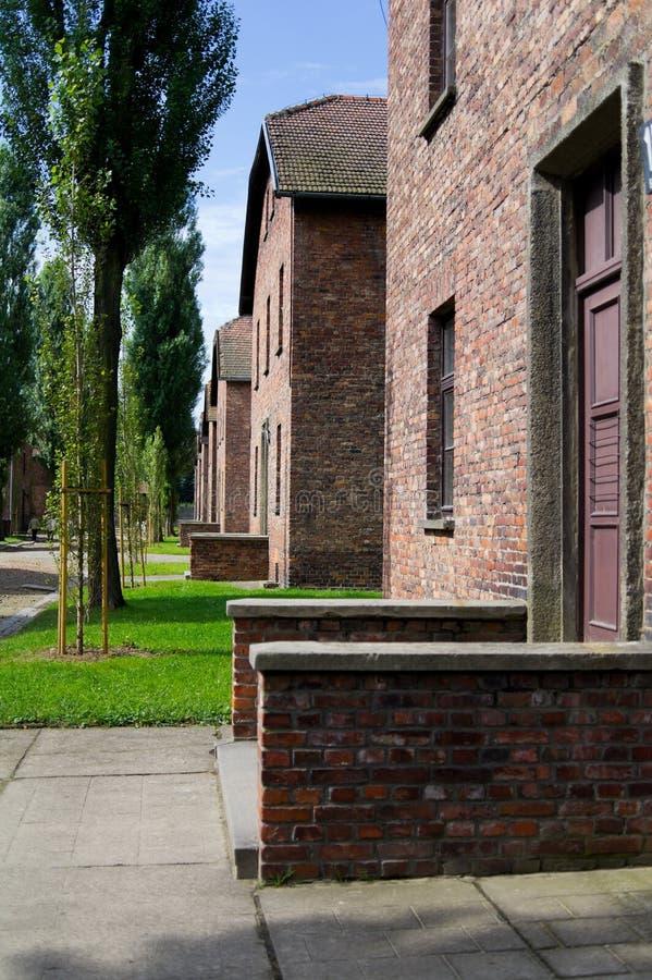 Block of houses in Auschwitz stock photos