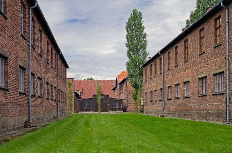 Block of houses in Auschwitz stock photo
