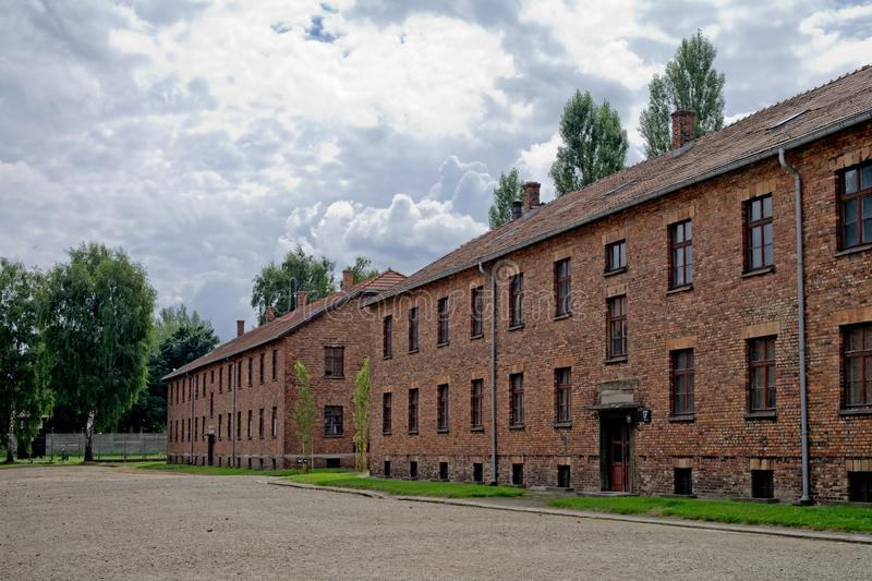 Block of houses in Auschwitz royalty free stock photo