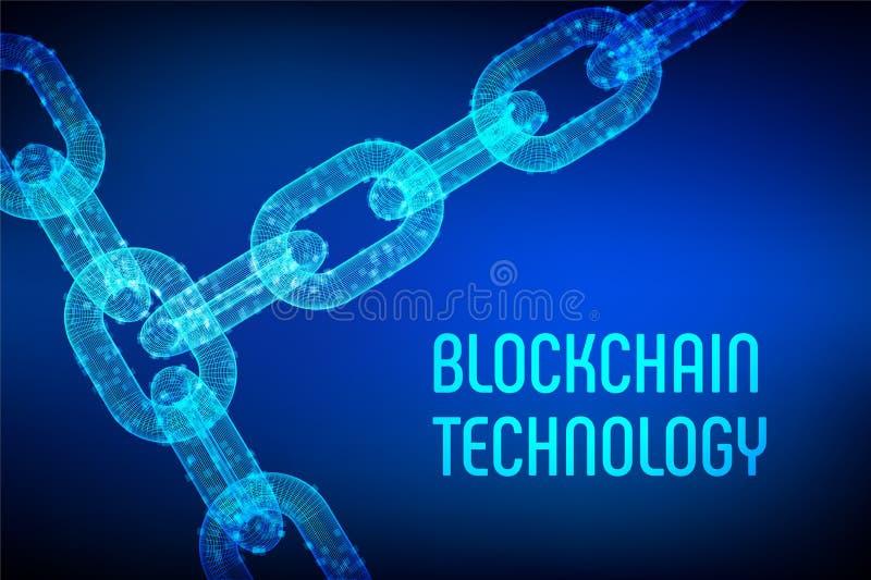 Block-Kette Schlüsselwährung Blockchain-Konzept wireframe 3D Kette mit digitalen Blöcken Editable cryptocurrency vektor abbildung