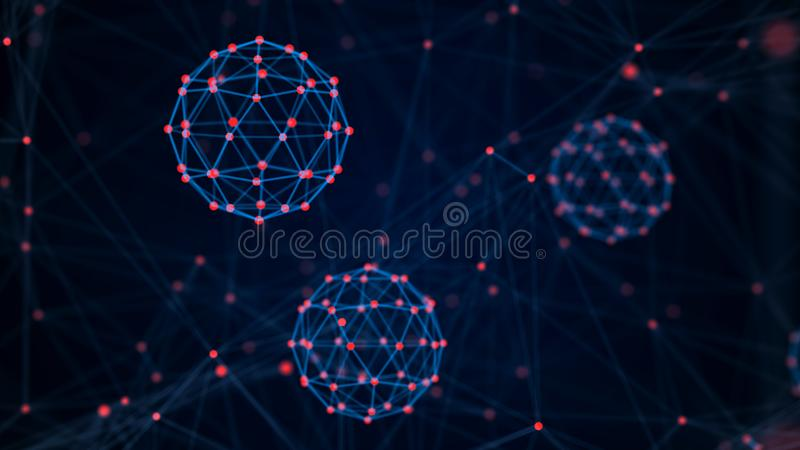 Block-Ketten-Technologie-Konzept Verbindungen mit Punkten und Linien Gro?e Datensichtbarmachung Wiedergabe 3d lizenzfreie abbildung