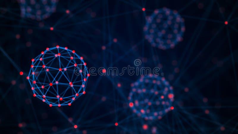 Block-Ketten-Technologie-Konzept Verbindungen mit Punkten und Linien Gro?e Datensichtbarmachung Wiedergabe 3d vektor abbildung