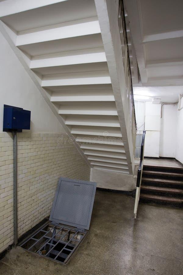 Block ladder. A block ladder at entrance stock photography