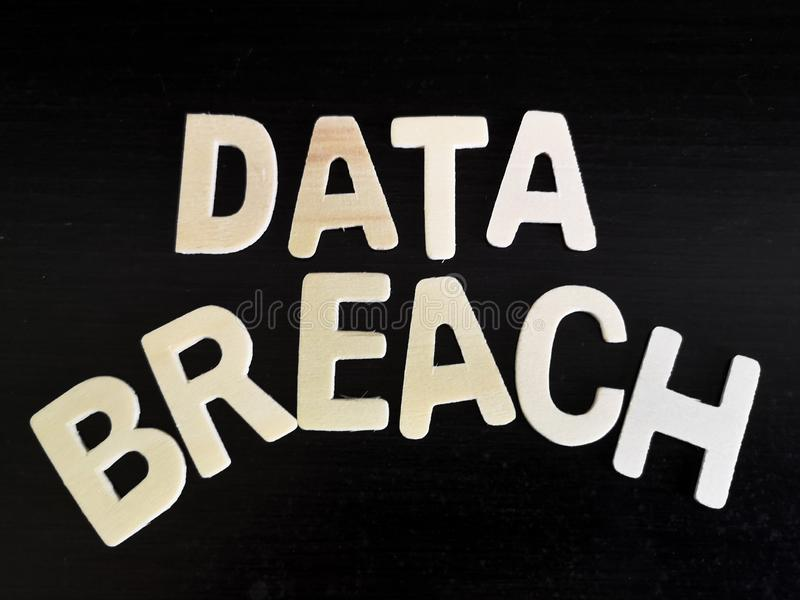 A block of letter data breach. Technology security issues. Data breach security stock photos