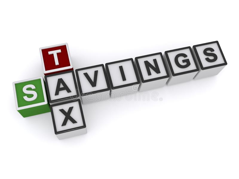 Tax Savings text concept royalty free illustration