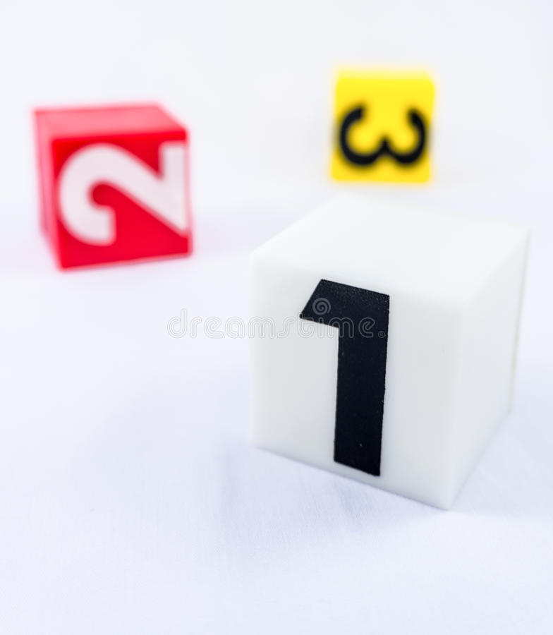 Block of number one in front of number two block and number thr stock image