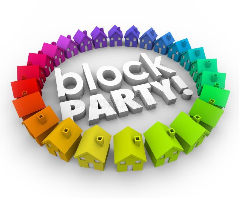 Block Party Houses Neighborhood Community Celebration Event vector illustration