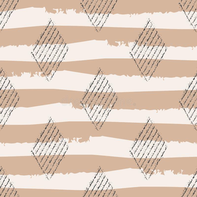 Block print style black diaomond geometric design with grunge stripes.Seamless vector pattern on eco paper colour vector illustration