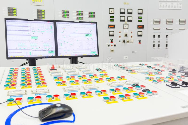 Block reactor control board of nuclear power plant. Block reactor control board in the Engine Room for Steam Turbines of the Kursk Nuclear Power Plant royalty free stock photography