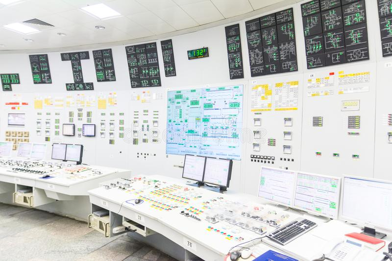Block reactor control board of nuclear power plant. Block reactor control board in the Engine Room for Steam Turbines of the Kursk Nuclear Power Plant stock photography