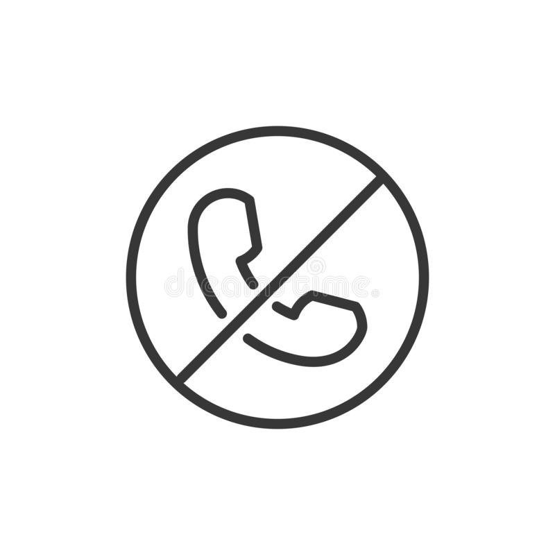 Block or reject call thin line icon. Vector illustration of a phone with a circle and a crossed line vector illustration