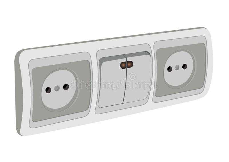 Download The Block Of Sockets And The Switch Stock Image - Image: 19655001
