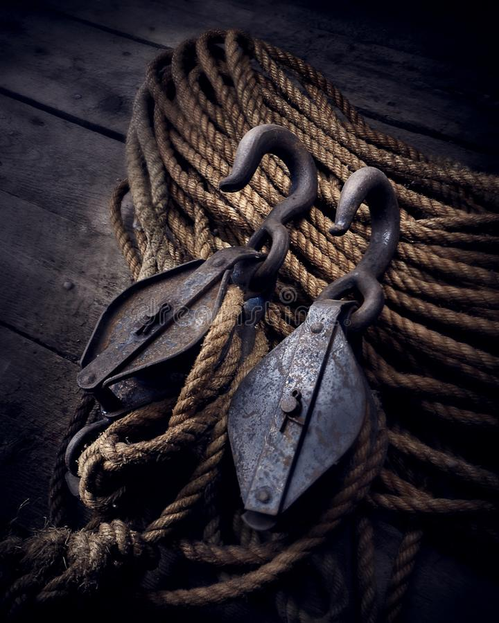 Block & Tackle. Block and Tackle pulley system royalty free stock photography