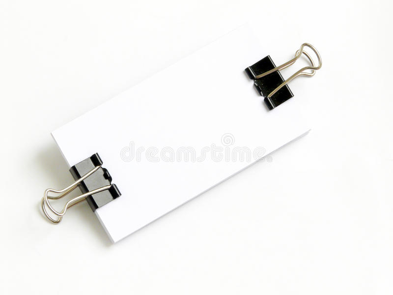 Download Block Of White Cards Attached With Paperclip Stock Photo - Image: 9694954