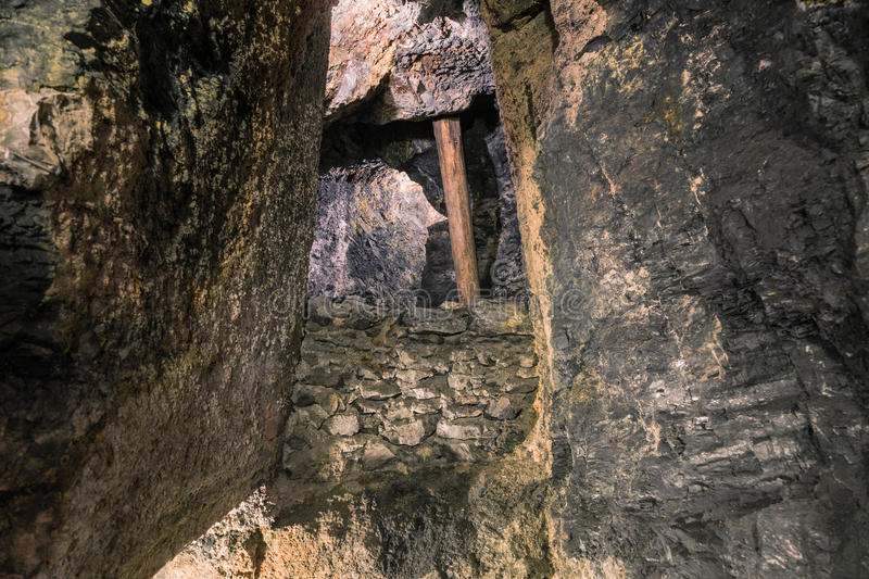 Blockage of stones in the mine. Saalfeld, Germany, Grotto of Fairies royalty free stock photo