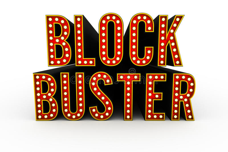 Blockbuster 3D word. Typical theater style 3D letters spelling the word Blockbuster royalty free illustration
