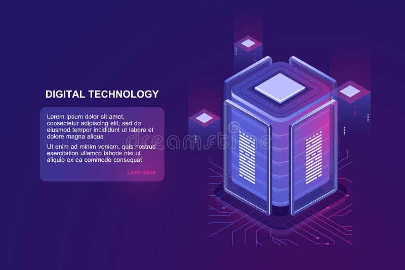 Blockchain技术等量象、服务器室和数据库、数据仓库和云彩计算的概念紫外 库存例证