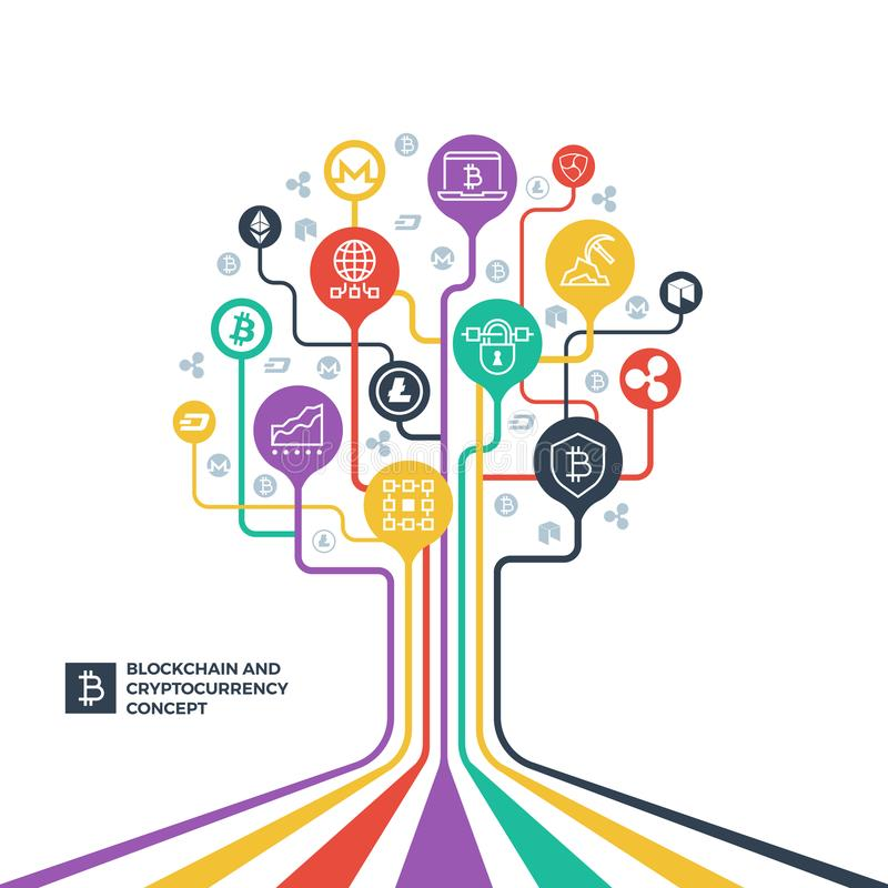 Blockchain、cryptocurrency密码学和数据发行导航概念 库存例证