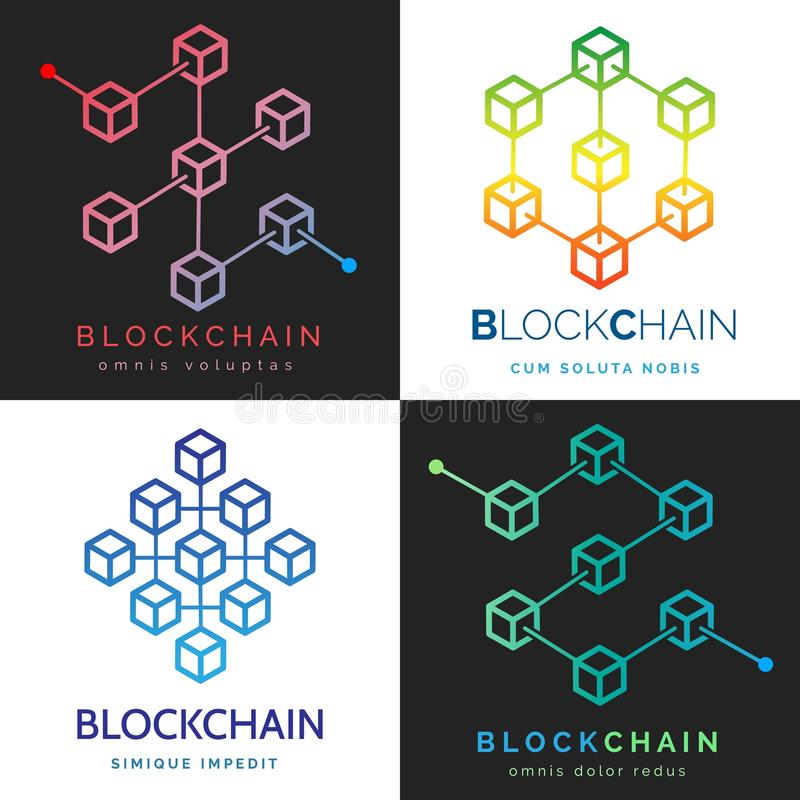 Blockchain商标集合 皇族释放例证