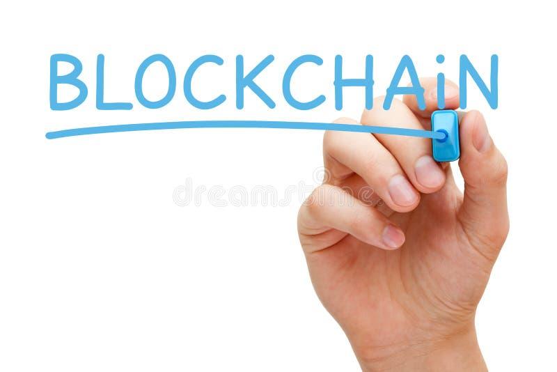 Blockchain手写与蓝色标志 免版税库存图片