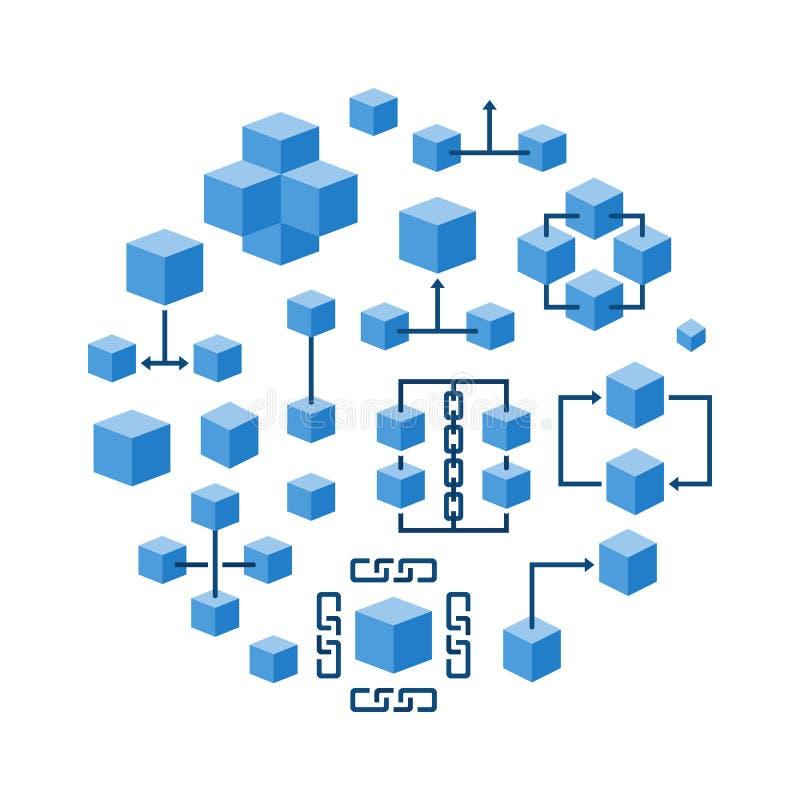 Blockchain技术圆的蓝色传染媒介例证 向量例证