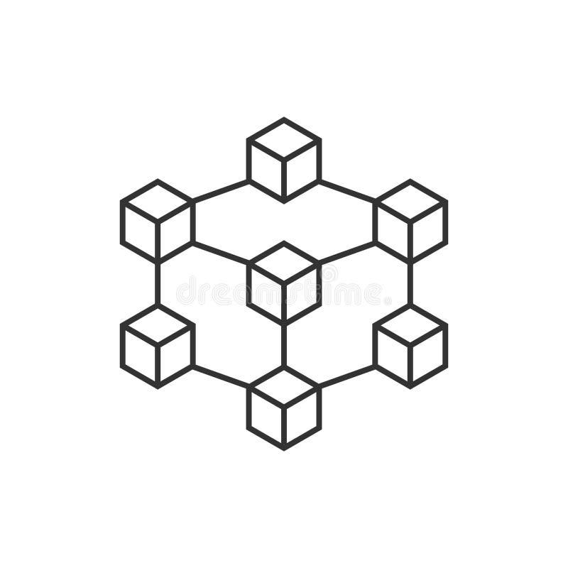 Blockchain技术在平的样式的传染媒介象 密码学古芝 库存例证