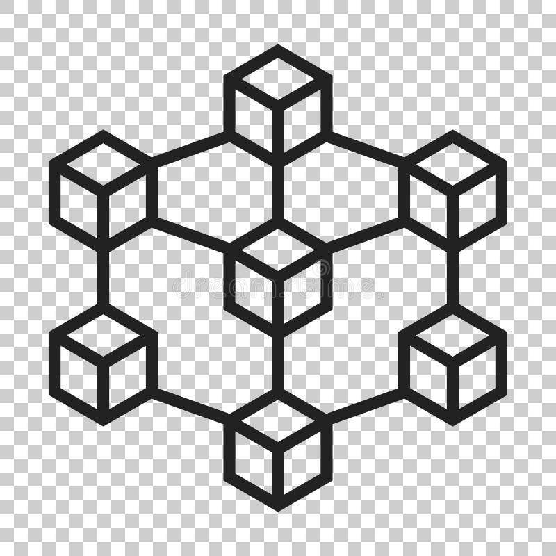 Blockchain技术在平的样式的传染媒介象 密码学古芝 皇族释放例证
