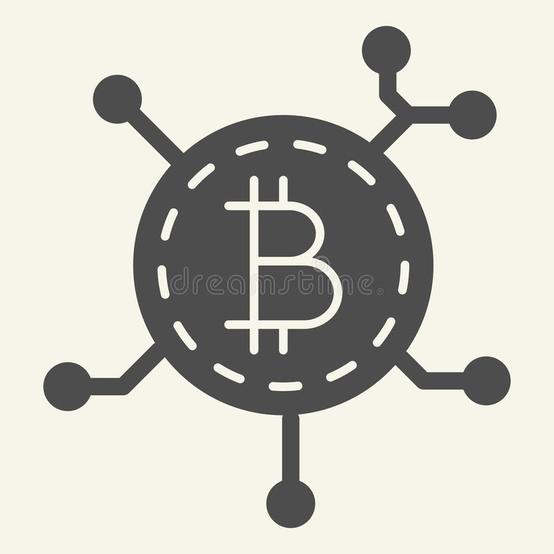 Blockchain技术坚实象 Bitcoin通信在白色隔绝的传染媒介例证 隐藏硬币芯片纵的沟纹 库存例证