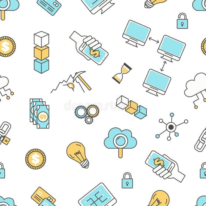 Blockchain技术无缝的样式,导航现代稀薄的线平的设计 向量例证