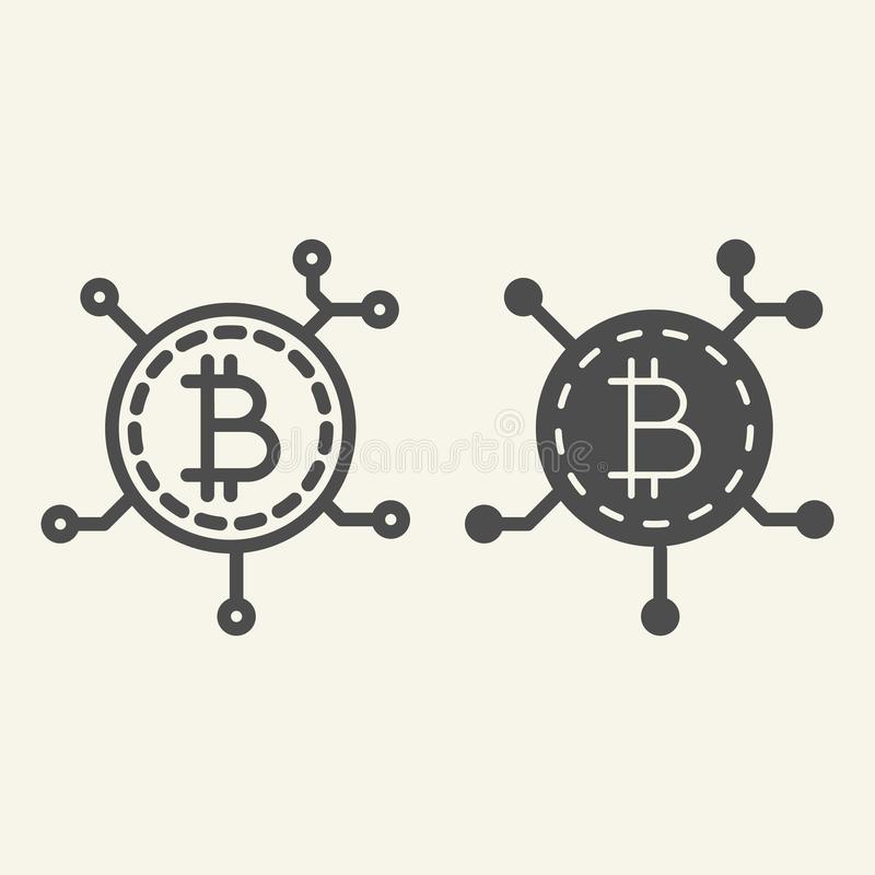 Blockchain技术线和纵的沟纹象 Bitcoin通信在白色隔绝的传染媒介例证 隐藏硬币芯片 库存例证