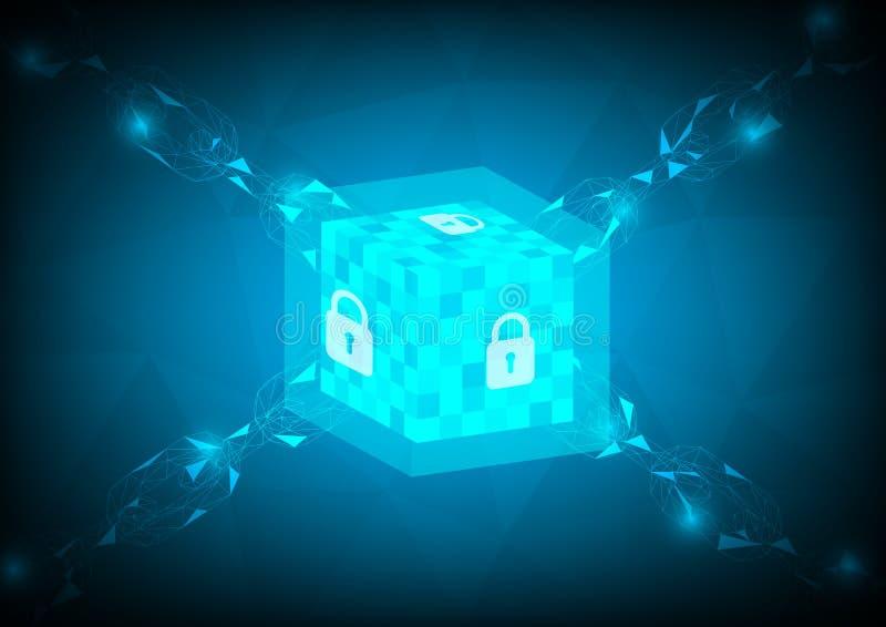 Blockchain技术链节连接蓝色概念传染媒介 向量例证