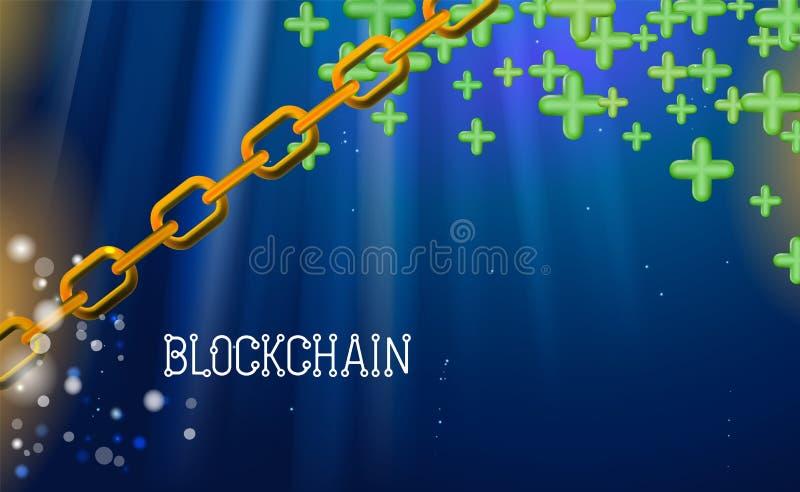 Blockchain技术,绿色加号 数据网隐藏采矿,蓝色背景超链接 链协议企业概念 皇族释放例证