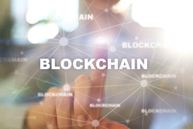 Blockchain技术,FIntech,Bitcoin,Cryptocurrency 企业互联网概念 库存例证