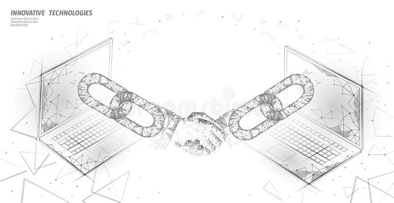 Blockchain技术3D握手 企业财务协议合同概念 成功网网络低多横幅 库存例证