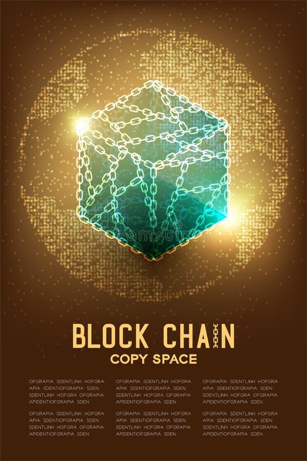 Blockchain技术3D等量真正与几何圈子 库存例证