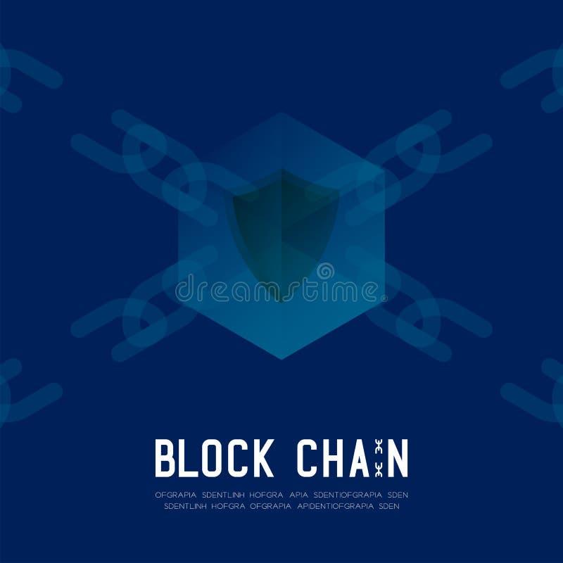 Blockchain技术3D等量真正,不安全的系统概念设计例证 库存例证