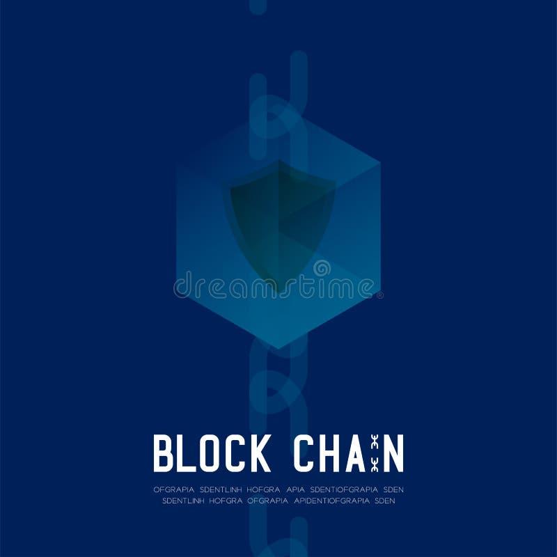 Blockchain技术3D等量真正,不安全的系统概念设计例证 皇族释放例证