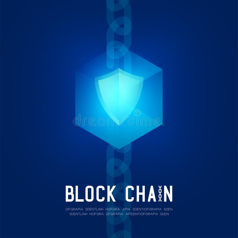 Blockchain技术3D等量真正,安全保护系统构思设计例证 库存例证