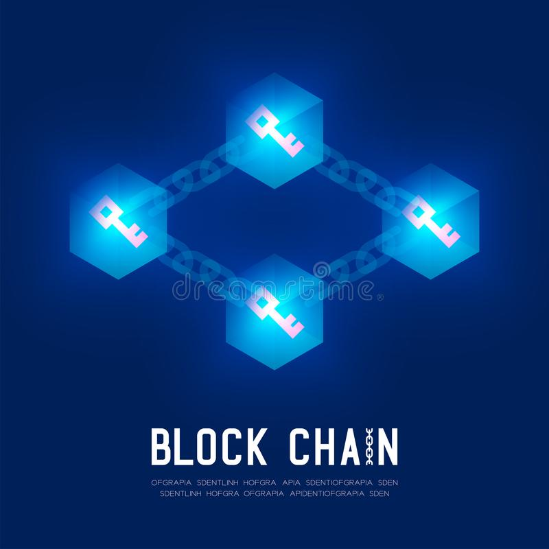 Blockchain技术3D等量真正,注册系统概念设计例证 皇族释放例证