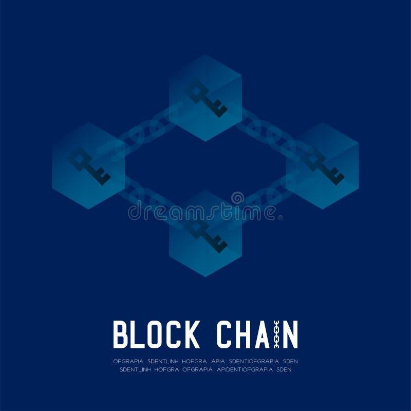 Blockchain技术3D等量真正,离线注册系统 库存例证