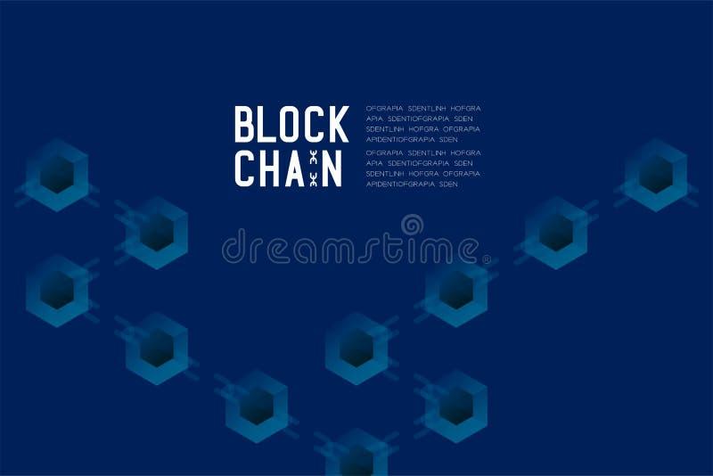 Blockchain技术3D等量真正,系统离线构思设计例证 皇族释放例证