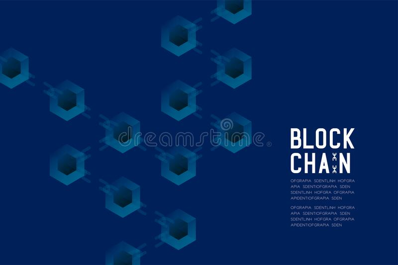 Blockchain技术3D等量真正,系统离线构思设计例证 向量例证