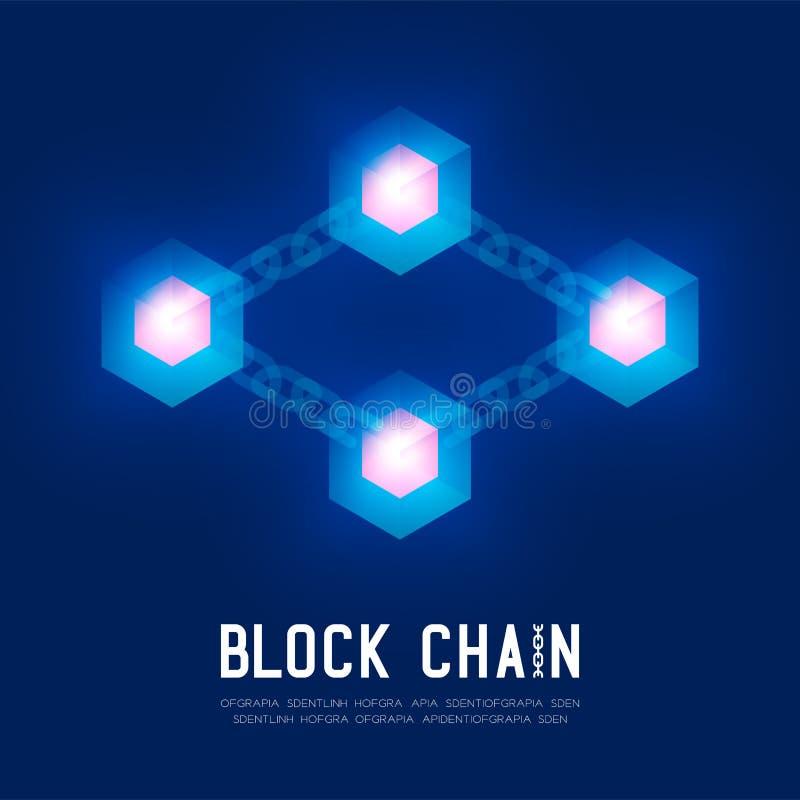 Blockchain技术3D等量真正,系统网上构思设计例证 库存例证