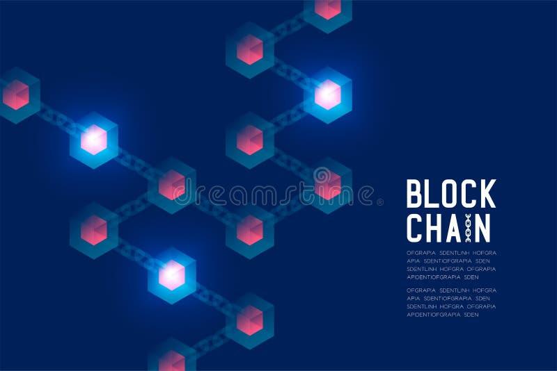 Blockchain技术3D等量真正,系统网上构思设计例证 皇族释放例证