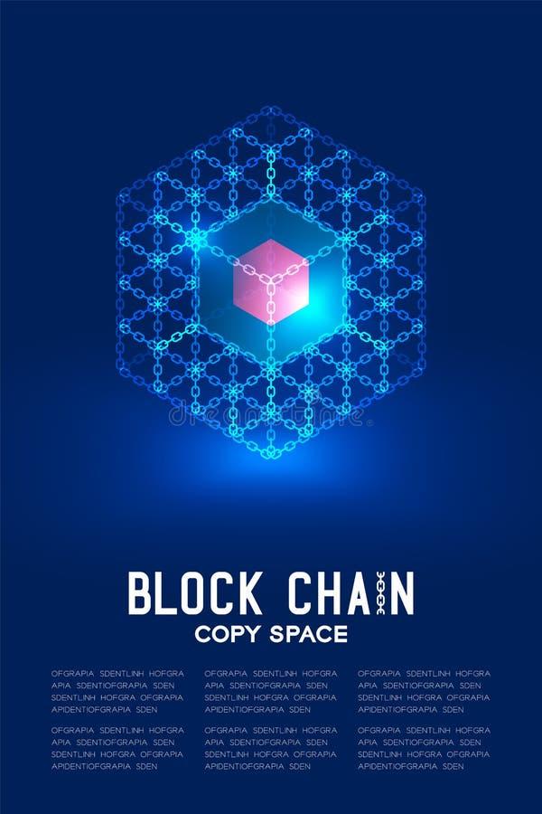 Blockchain技术3D等量真正,系统网上构思设计例证 向量例证