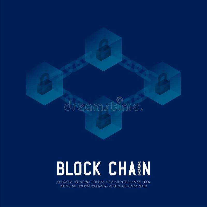 Blockchain技术3D等量真正,锁保护在深蓝backgrou的系统离线构思设计例证 库存例证