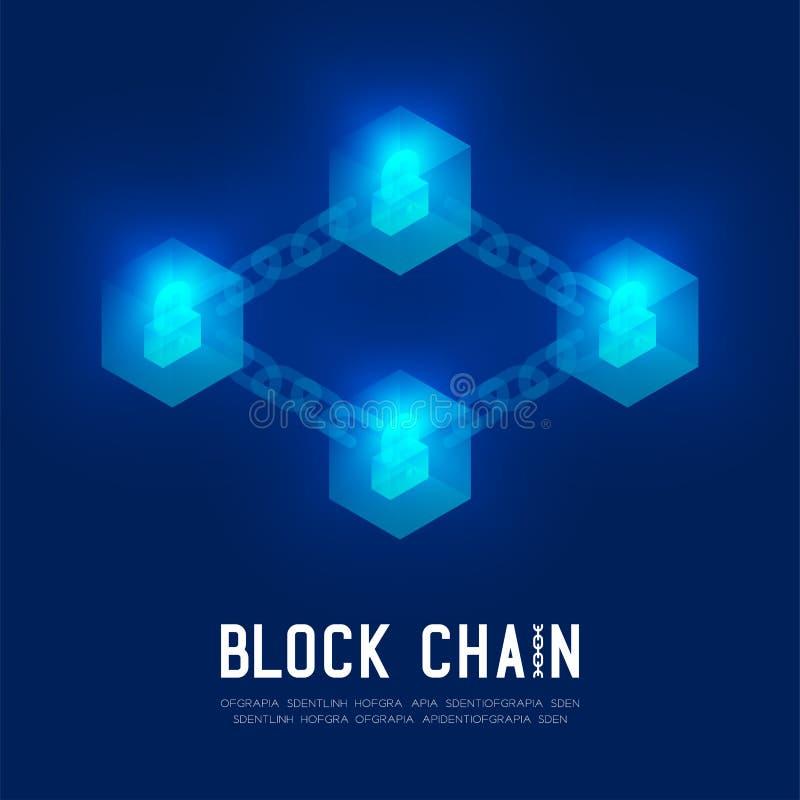 Blockchain技术3D等量真正,锁保护系统概念在深蓝背景和B的设计例证 皇族释放例证