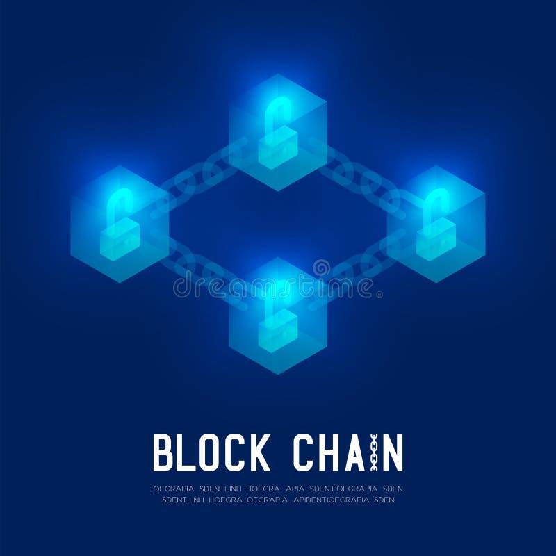 Blockchain技术3D等量真正, Unlock保护syste 皇族释放例证